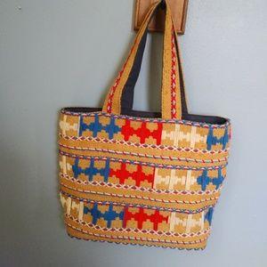Boho Vintage Embroidered Burlap Tote Bag Purse